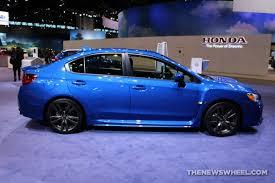 2017 subaru impreza sedan blue 2017 subaru wrx limited blue sedan car on display chicago auto show