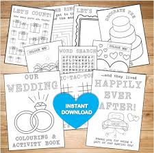 kids wedding colouring u0026 activity book instant