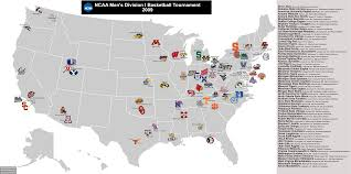 Map Of Ucla 2009 Ncaa Men U0027s Division I Basketball Tournament The 65 Teams Who