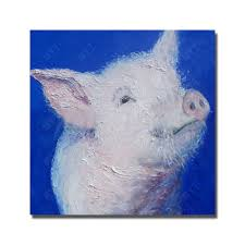 hand painted cute animal realistic pig canvas oil paintings