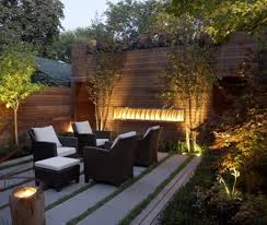 sparkling led lights and concrete patio for modern landscaping