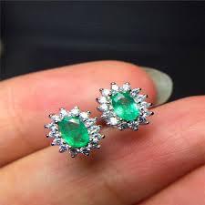 emerald earrings vintage emerald stud earrings 3 5mm emerald silver