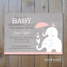 pink and grey elephant baby shower invitation printable