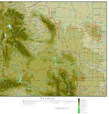 map of wyoming wyoming elevation map
