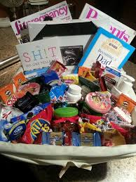 gift ideas for expecting parents pregnancy gift basket magazine lotion chocolate epsom salt tums