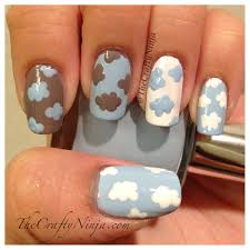 freehand cloud design nail art tutorial fit in clouds nails pinterest cloud