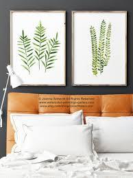 fern print green botanical art set of 2 ferns watercolor