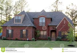 beautiful red brick residential home stock photo image 40214619
