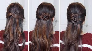 3 easy half up half down hairstyles hair tutorial youtube