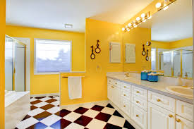 Bright Yellow Bathroom by Bright Yellow Bathroom Interior With White Cabinets Tile Rockform