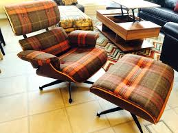 tartan fabric eames lounge chair and ottoman charles eames lounge