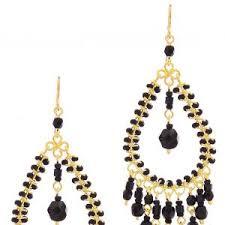Handmade Seed Beaded Gold Plated Blue Black Handmade Beaded Chandelier Earrings E P Oblacoder