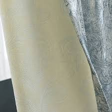 Silver And Blue Curtains Polyester And Cotton Patterned Country Ombre Curtains For Living Room