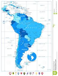 Map Of Bolivia South America by Detailed Map Of South America In Colors Of Blue And Flat Map Stock