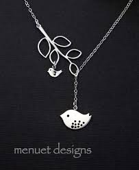 Baby Personalized Jewelry Silver Mama Bird Necklace With Baby Bird Silver Branch Family