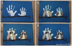 diy owl handprint art the perfect gift for grandparents just