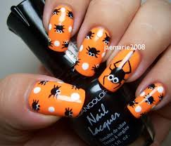 halloween nail design polka dot spiders super cute might have