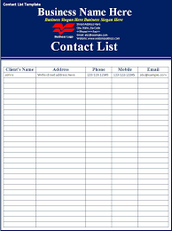 contact list template word excel pdf