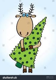 cartoon funny deer green christmas tree stock vector 87954004