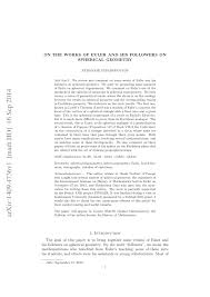 on the works of euler and his followers on spherical geometry