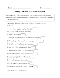 adding question marks or periods worksheet part 1 beginner