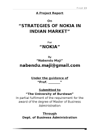 sample of acknowledgement letter for project report summer project report on nokia strategies of nokia in indian summer project report on nokia strategies of nokia in indian market nokia qualitative research