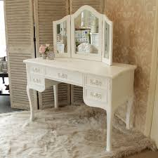 white wooden dressing table desk triple mirror home vintage style