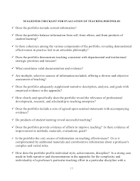 the teaching portfolio reflective practice for improvement and u2026