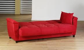 Microfiber Sleeper Sofa Red Microfiber Fabric Living Room Storage Sleeper Sofa Red