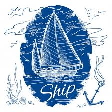nautical emblem with blue colored sketch sailing schooner ship and