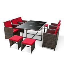 brown ikayaa 11pcs 10 seater rattan patio garden dining table