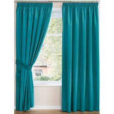 Teal Curtains Faux Silk Top Curtains Pair Finished In Teal