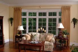 Rods For Bay Windows Ideas Curtain Rods For Bay Windows Ideas With Two Small Tables And