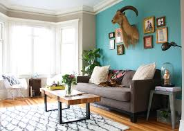 Peacock Blue Chair Peacock Blue Accent Wall Living Room Eclectic With Tolix Stool