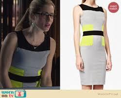 wornontv felicity u0027s grey dress with neon yellow panels on arrow