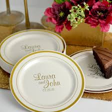 wedding plate 7 in gold trim plastic dessert plates personalized my wedding