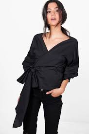 black wrap blouse lyst boohoo woven ruched sleeve wrap front blouse in black