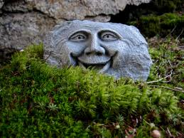 rock face happy garden face forest spirit concrete garden