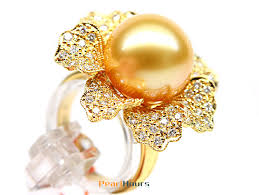 diamond pearl rings images Golden south sea pearl diamond ring 13 14mm aaa pearl rings jpg