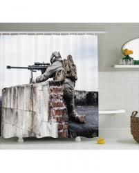 Camo Shower Curtain Camo Curtain Warrior Sniper Commando Print 2 Panel Window Drapes