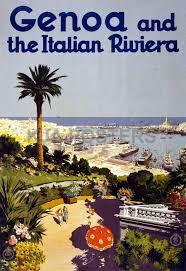 Genoa Italy Map by Genova Italian Riviera Genova Port Resort Travel Tourism Vintage