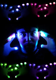 raver led light show pair of gloves one color