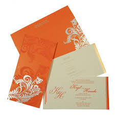 Customized Wedding Invitations Orange Matte Floral Themed Screen Printed Wedding Invitations