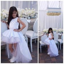 new white elegant high low flower dresses ball gown child