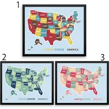 America Map With States by Colorful Us Map With States Wall Art Print Wanderlust Map The