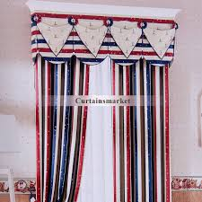 Blue Striped Curtains And Blue Striped Curtains With Star Patterns For Kids