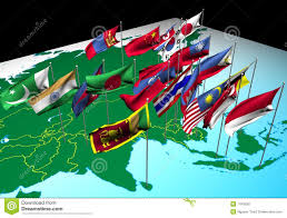 Sw Asia Map by Asia Flags On Map Southeast View Royalty Free Stock Images