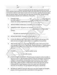 legal marriage separation agreement template with sample