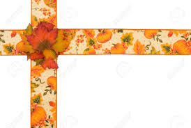 fall ribbon fall ribbon with pumpkins isolated on white autumn border stock