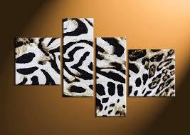 Leopard Home Decor 4 Piece Leopard Skin Wildlife White Canvas Art Prints